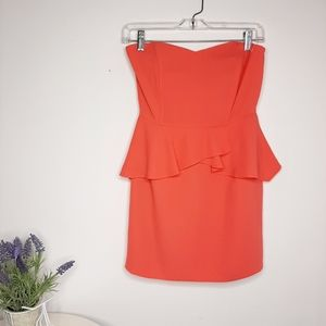 Forever 21 Coral Strapless Mini Dress size S